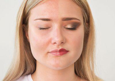 Vorher Nachher Vergleich Make-Up Augen zu